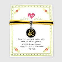 Save the Bees Happy Flamingos Unicorn Animal Love Charm Card Bracelets Yellow Suede Women Men Girl Boys Unisex Jewelry Gift
