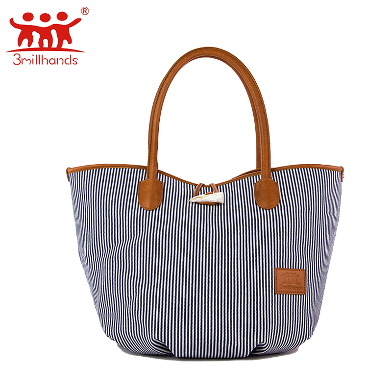 ФОТО Limited Edition 3Millhands canvas bag hobos blue white striped women handbag patchwork tote bag panelled ladies bag