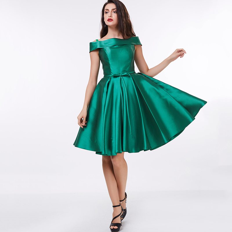 c7d8eb6b93ecf Tanpell off the shoulder cocktail dress dark green knee length a line gown  satin draped ladies homecoming short cocktail dresses