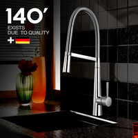 High Quality Copper Sink Mixer Chrome Finish Spring Kitchen Faucet Swivel Spout Hot Cold Water Control