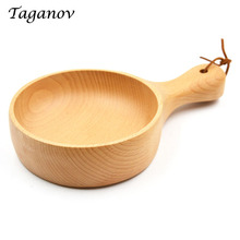 5 Pcs/ Lot Wooden Tableware Noodle Rice Food Container Japanese Natural Handle wood Salad Bowl Pickle fruit bowl salad best gift