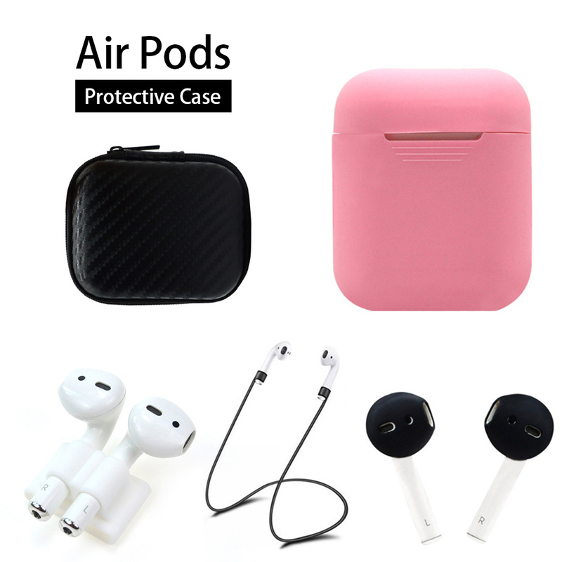 5In1 Wireless Bluetooth Ear Plug Protection Box Silicone Headphone Case Buckle Earplug Sleeve Earphone Anti-lost Rope for Airpod