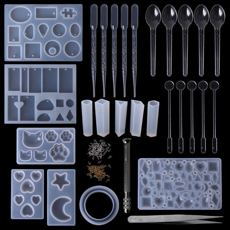 1 Set Epoxy Harz Kit Diy Schmuck Casting Werkzeuge Silikon Form Handgemachte Halskette Anhänger Armreif Geschenke Kreative Professionelle Phantasie Farben