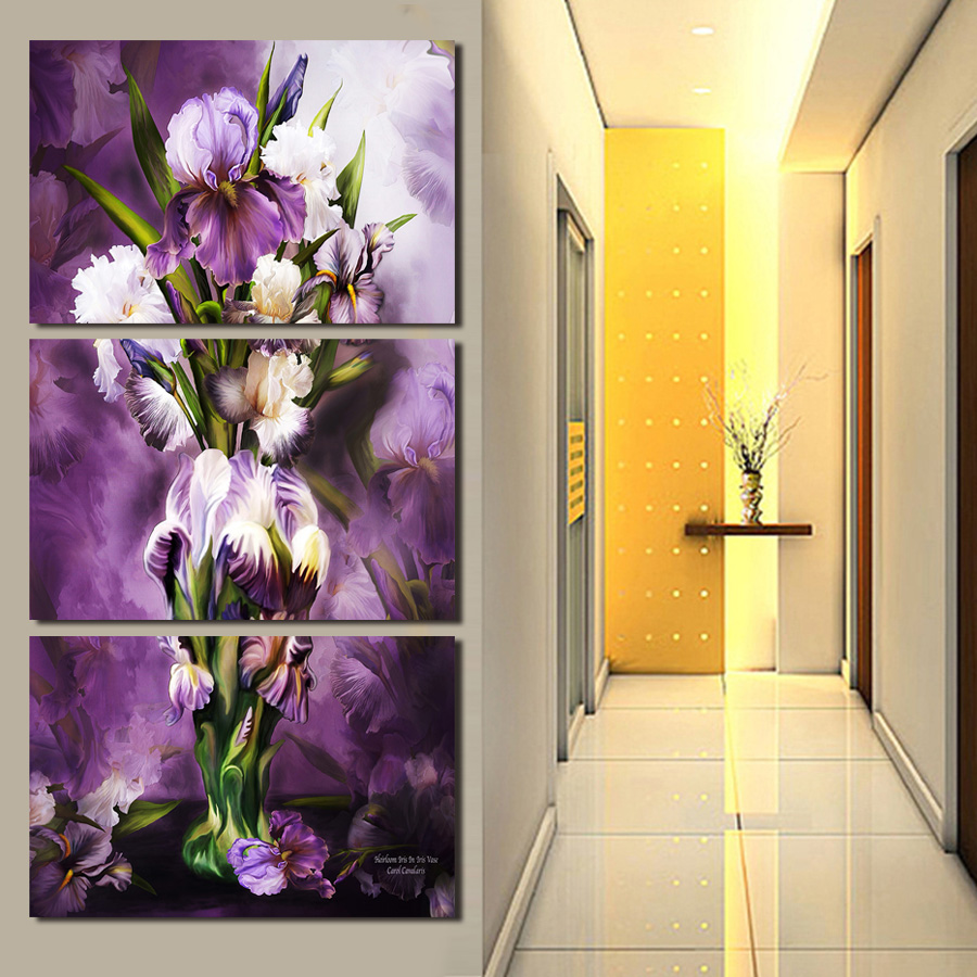 3 Piece canvas art For Living Room Painting Flowers Decoration for ...