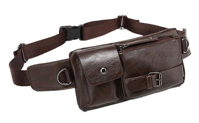 Nuevos Hombres de La Manera de LA PU de Viaje de Cuero Cruzada Cuerpo Mensajero Sling Pecho Bolsa Cinturón Riñonera Bolso de la Cintura