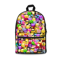 Customized Canvas Backpacks for Teenage Girls 2019 School Bags 3D Emoji Face Printing Backpack Women Funny School Back Pack