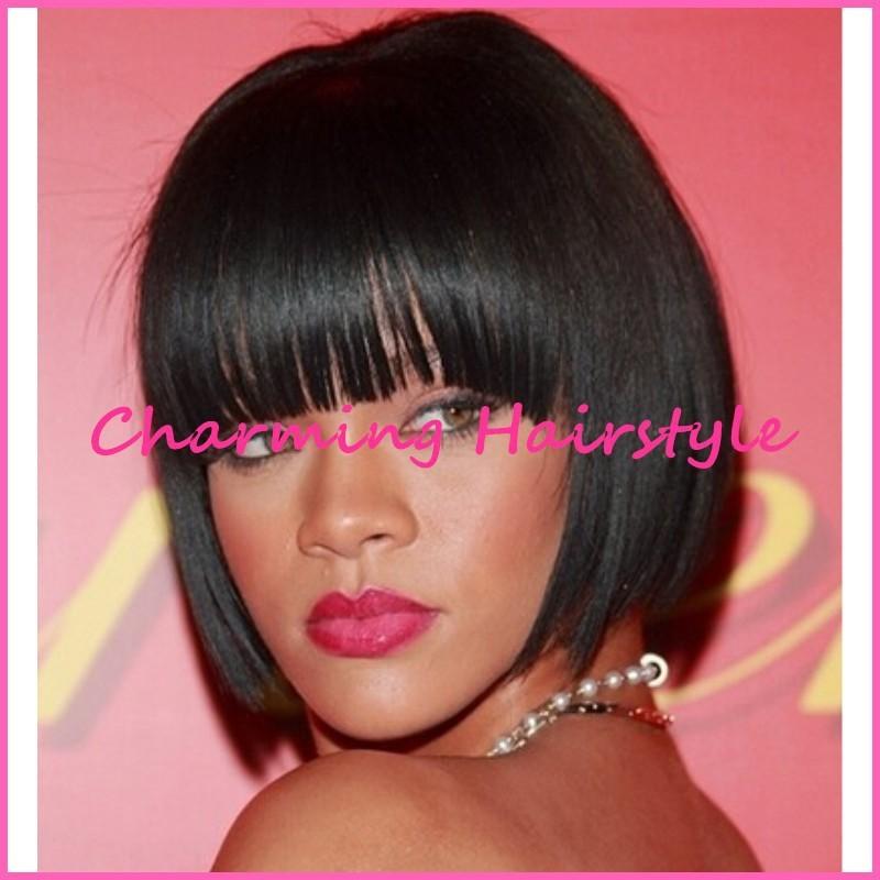 Rihanna Krótkie Kobiet Fryzury Bob Styl Natural Black Kolor
