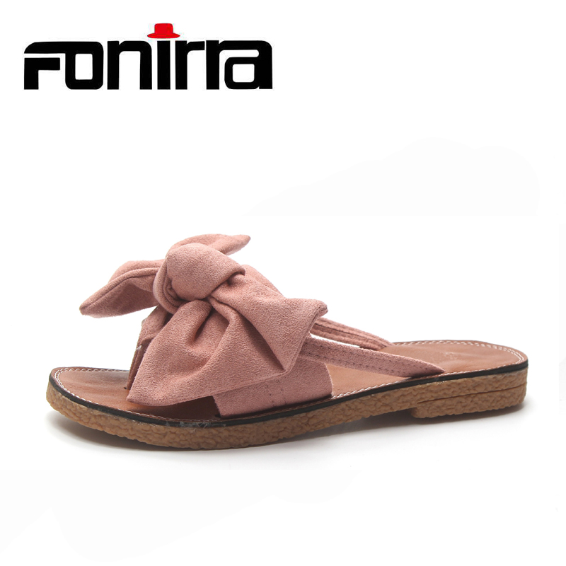 FONIRRA Summer Flip Flops Slides Woman Beach Shoes Bowtie Flat Outside Slippers Woman Light Anti Slip Ladies Sandals 889