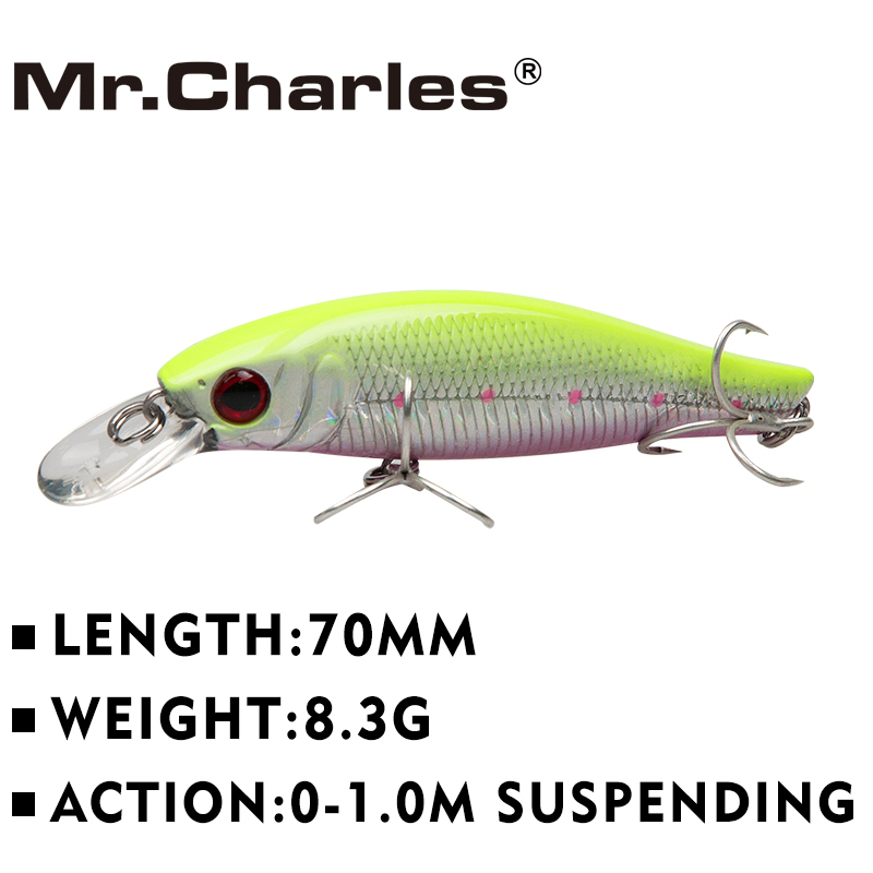 Mr.Charles  MR07 Fishing Lures ,70mm/8.3g 0-1.0m Floating Super Sinking Minnow Quality Professional Baits