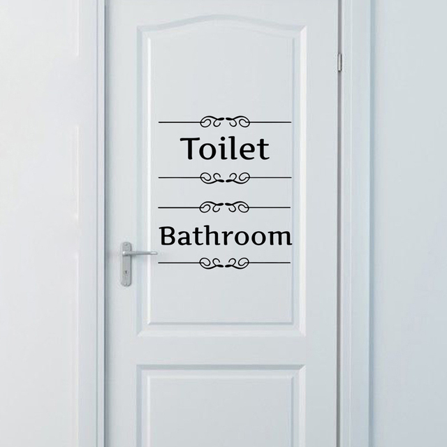 Wall Sticker Bathroom Decor Toilet Door Vinyl Decal Decoration Quotes Stickers Cafe