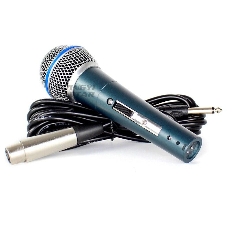Beta58a interruptor profissional com fio handheld dinâmico microfone karaoke vocal sistema de microfone para beta 58a com 6.5mm jack linha de áudio