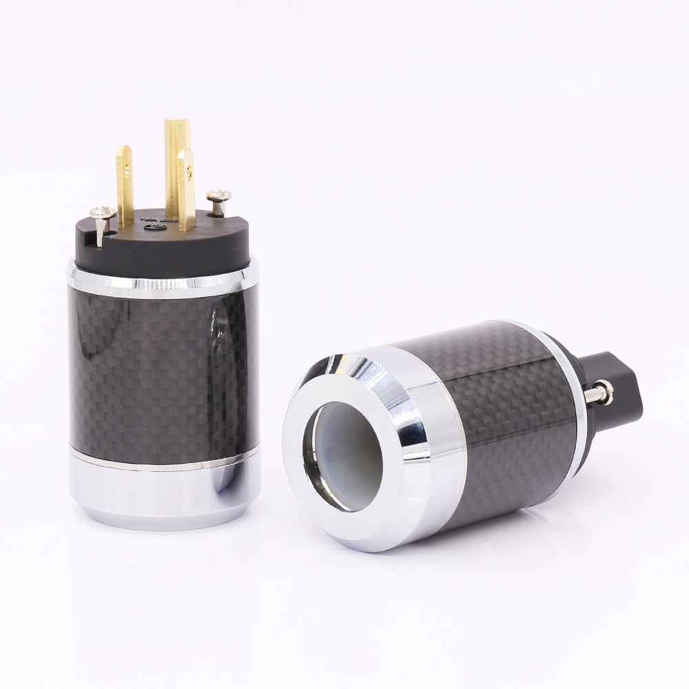 цена на Free shipping Pair Carbon fiber Gold Plated US AC Power Cord Cable Plug HIFI US Power Connector IEC Female