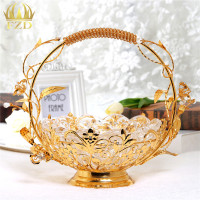1Pcs Metal Glass Fruit Serving Tray Golden Flower Plate Decorative Bowl For Wedding Party Supplies And