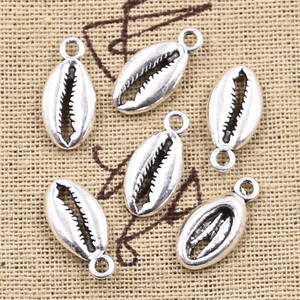 12pcs Charms Bohemian Cowrie Conch Shell 17x8mm Antique Silver Color Plated Pendant Making DIY Handmade Tibetan Finding Jewelry