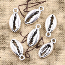 12pcs Charms Bohemian Cowrie Conch Shell 17x8mm Antique Silver Plated Pendant Making DIY Handmade Tibetan Silver Finding Jewelry(China)