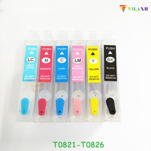 vilaxh T0821 - T0826 Refillable Ink cartridge For Epson T0821N Stylus R270 R390 TX650 T50 T59 RX590 TX700W TX800W TX720 TX800