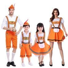 Umorden Orange Oktoberfest Costume for Girls Boys Women Men Family Bavarian Beer Maid Waiter Cosplay Halloween Costumes Dress Up