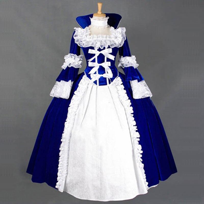 18e Siècle Gothique Victorienne Lolita Robes Rétro Bleu et Rouge Long Flare Balle de Scène robes Pour Fille Personnalisé Costume de Théâtre