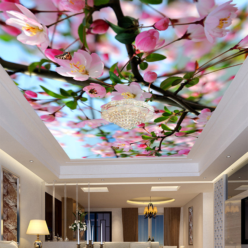 Custom Mural Photo Wallpaper 3D Stereoscopic Peach Blossom Zenith Ceiling Mural 3D Living Room Wall Paper Modern Home Decoration mural wallpaper 3d home decoration cherry trees 3d wallpaper living room ceiling non woven wallpaper ceiling