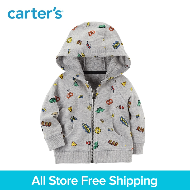 цена на Carter's 1-Piece baby children kids clothing Boy Zip-Up French terry Snack Graphic Hoodie 127H167