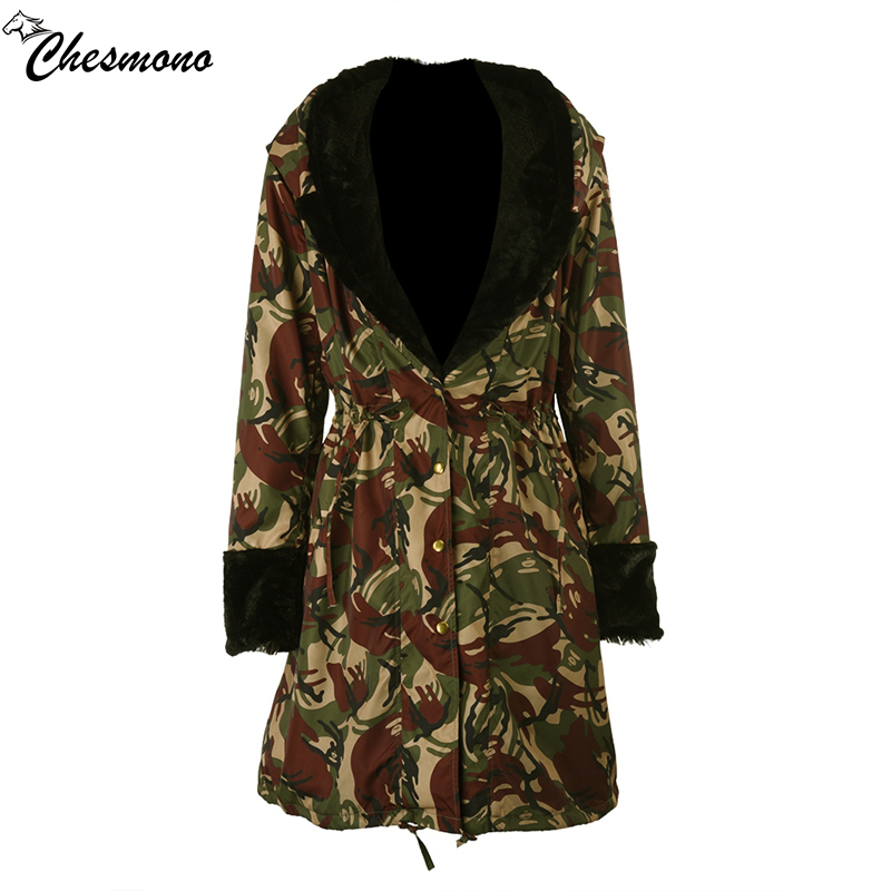 chesmono long Camouflage 2017 winter jacket women outwear thick parkas faux fur collar coat hooded slim warm Parka Feminina thick hooded down jacket women slim print long winter coat camouflage y160