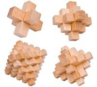 4PCS/Set Quality Wooden Burr Puzzle IQ Interlocking Beech Wood Puzzles Game for Adults Children