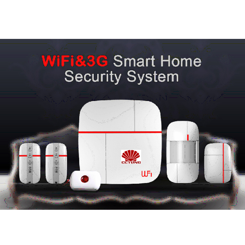 Ver A Vcare WIFI and 3G WCDMA Data Stream Smart Home Alarm System with PIR Motion Door Window Sensor Medical Emergency Button