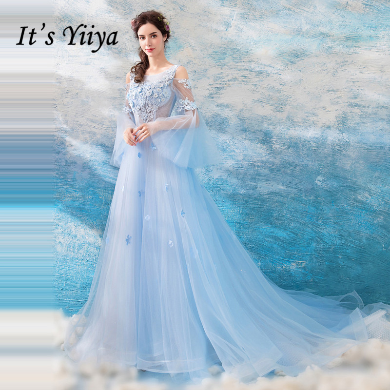 It's YiiYa   Evening     Dress   Appliques Beading Luxurious Formal   Dresses   Illusioin Flare Sleeve Blue Flowers Wedding Party Gown E182