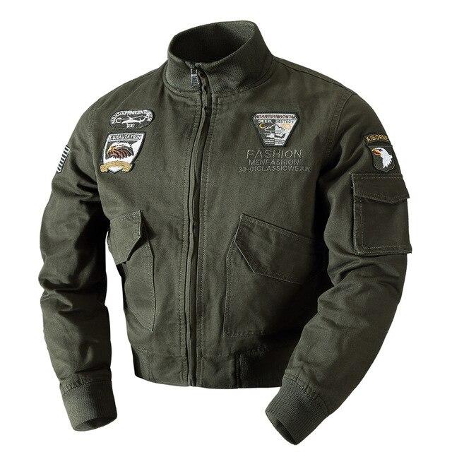9147eb9fe68 2018 военная куртка мужская пилот пальто армейская Мужская Весна Осень  хлопковая бомбер куртки карго летная плю