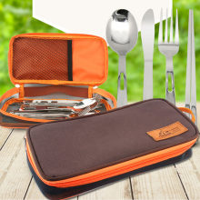 1 Pc Orange Camping Storage Bag for Tableware Cutlery Lunch Dinner Spoon Chopstick Fork Outdoor Travel Picnic Carry Box Holder(China)