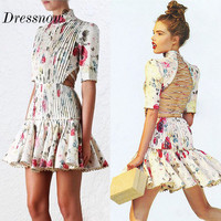 High Quality Ladies Dress Lace Up Backless Sexy Hollow Out Pressure Pleated Bead Print A Line Mini Dress Plus Size S XXXL