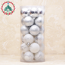 inhoo Silver White Theme Pack Ornaments for Tree 6cm Decor Ball Christmas Tree Ball Bauble Hanging Xmas Ornament Home Decor