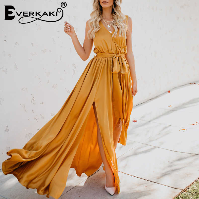 3d1299d55374e Miguofan Dress Boho Vintage Solid V-neck Sleeveless Long Party Dress Female  Elegant Split Empire