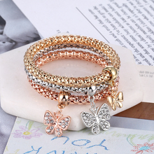WNGMNGL Fashion 3 Color Crystal Chain Bracelets & Bangles Ethnic Round Charm Bracelet With Butterfly Pendants Pulseira Feminina