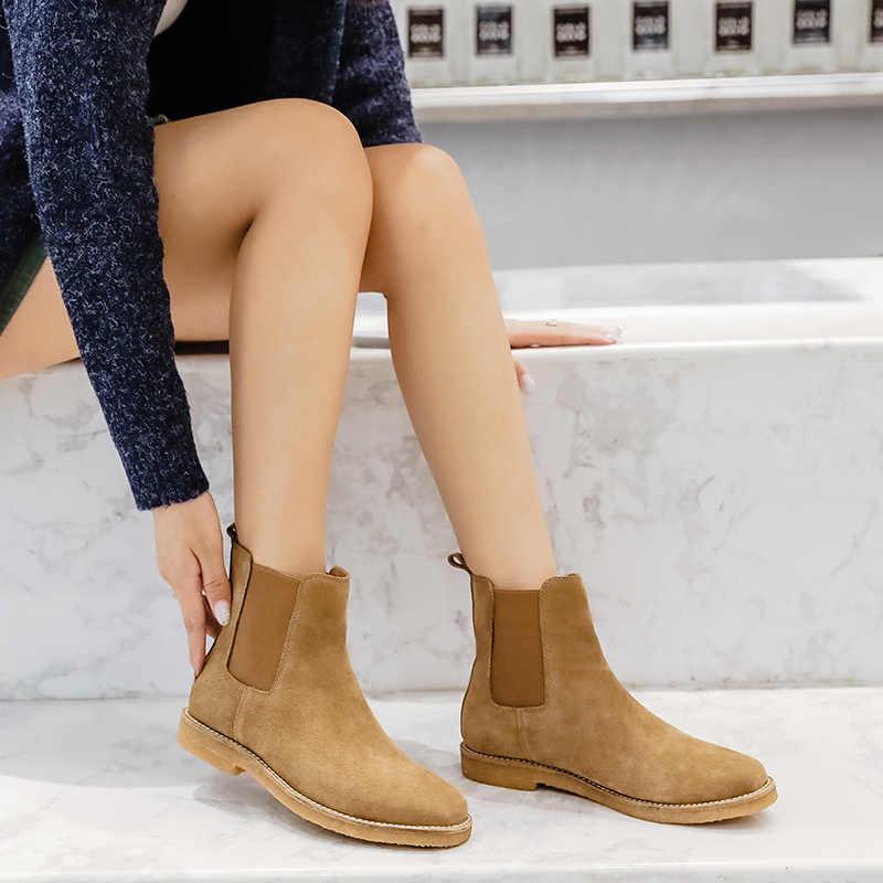 Donna-in Chelsea yarım çizmeler Kadın Hakiki Deri Inek Süet Düşük Topuklu Yuvarlak Ayak Klasik Botas Tasarımcı Bayan Ayakkabı 2019 sonbahar