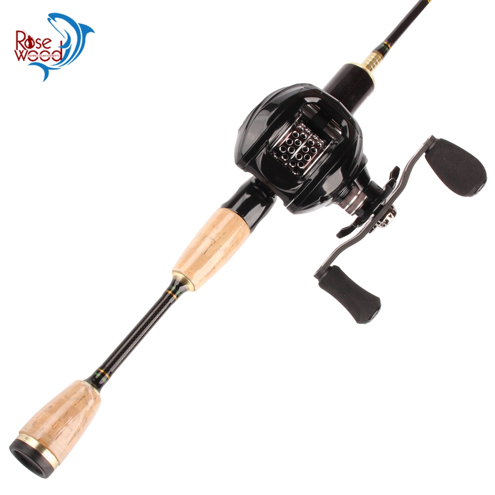 RoseWood Fishing Rod Combo Carbon Reel 6.3:1 High Speed Ultralight 1.8m 2 Tips Ultra Light Rod Baitcasting Reel Set