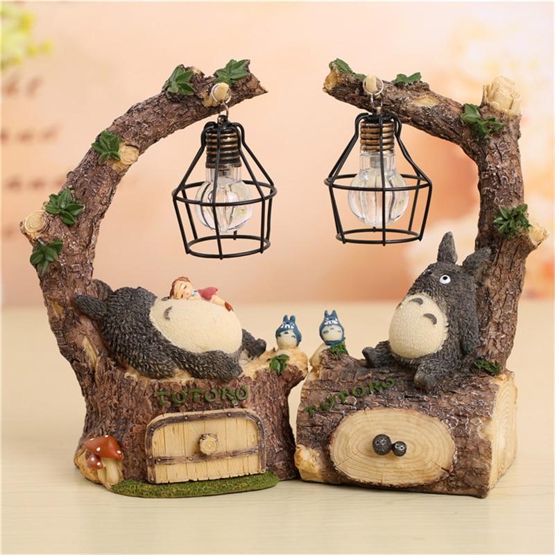 Resin My Neighbor Totoro Figures Lamp Tree Stump Totoro Model Toys Japanese Anime Weeding Gifts Nice Children Birthday Gifts