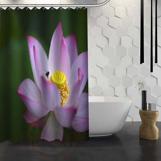 Hot sale custom pink lotus flower shower curtain waterproof fabric hot sale custom pink lotus flower shower curtain waterproof fabric shower curtain for bathroom f mightylinksfo