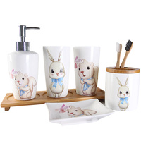 Six piece household items bathroom wash set ceramic lotion bottle toothbrush holder soap dish bamboo tray bathroom accessories