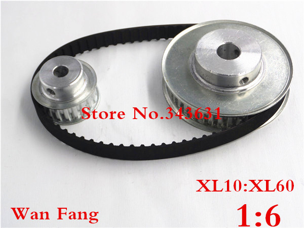 Timing Belt Pulley XL Reduction 6:1 60teeth 10teeth shaft center distance 100mm Engraving machine accessories - belt gear kit xl reduction 1 6 6 1 10t 60t timing pulley gear set shaft center distance 100mm for engraving machine timing belt pulley kit