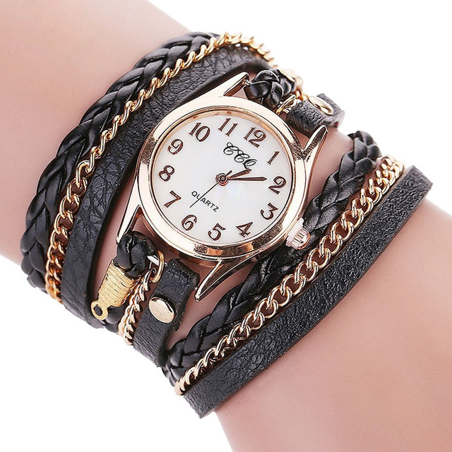 CCQ DROP SHIPPING CCQ Luxury Brand Vintage Leather Bracelet Watch Men Women Wris