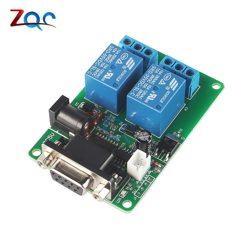 цена на DC 5V 12V 2 Channel RS232 Serial Port Control Relay Switch Board SCM Interface PC Relays DB9