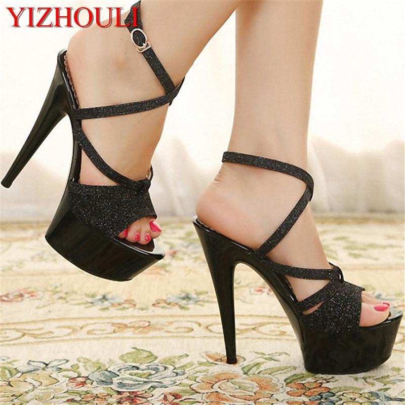 CM Lace Mode 15 6 Zoll Clubbing Kristall Sexy Schuhe Hergestellt Sandalen up In Frauen SchwarzWei Plattform China Exotische T nzer 7f6yYgb