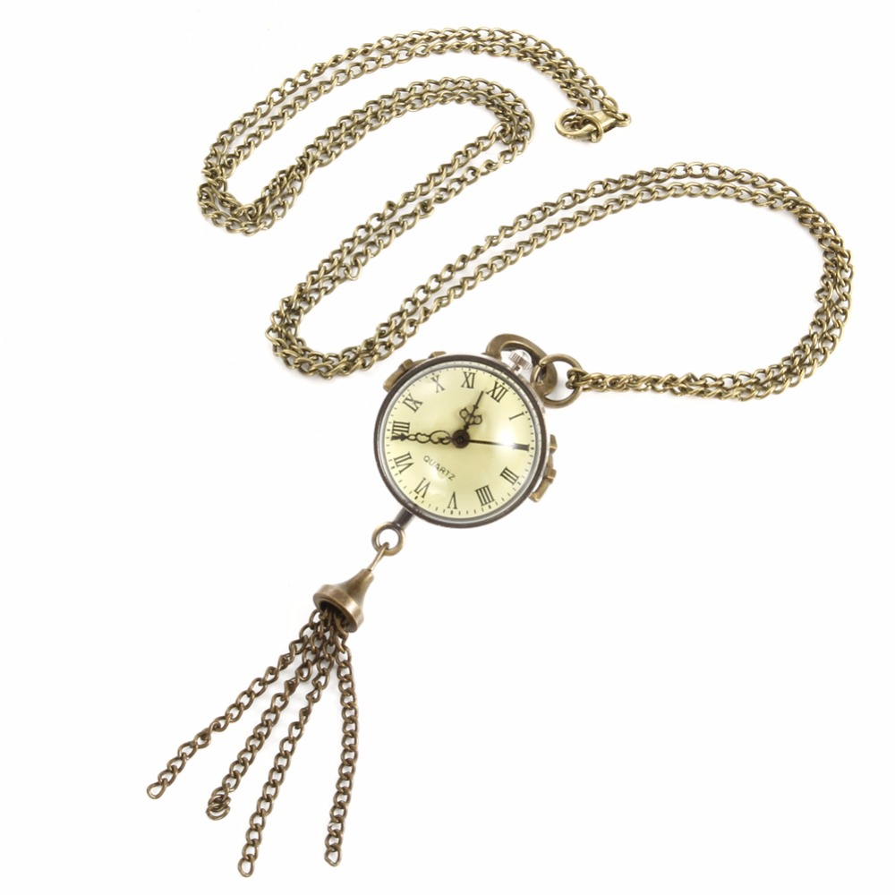 New Fisheye Style White Steel Retro Quartz Necklace Pocket Watch Chain Belt  LXH