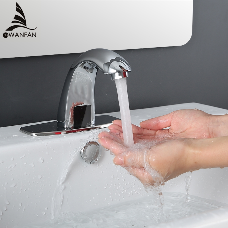 Hot & Cold Bathroom Automatic Hands Touch Free Sensor Faucets water saving Inductive electric Deck Mounted Water Mixer Tap 8101 water saving hands free brass hot and cold automatic infrared sensor faucet for bathroom deck mounted touchless sensor tap
