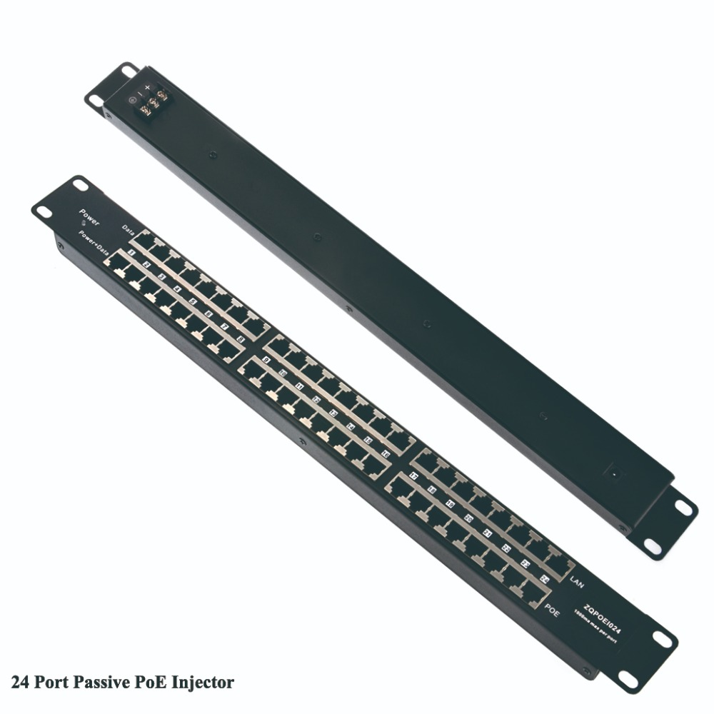 24 Port Passive POE Injector POE Patch Panel powered 24pcs 100mbps devices from one supply for