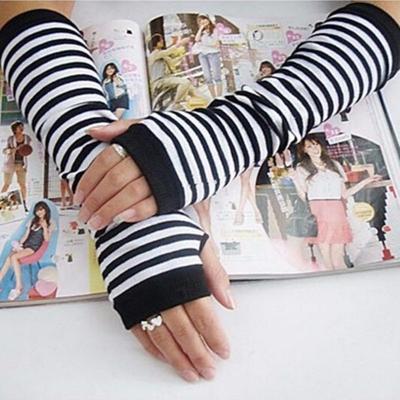 BTFL Hot High Quality Lady Stretchy Soft Arm Warmer Long Sleeve Fingerless Gloves Striped Free Shipping