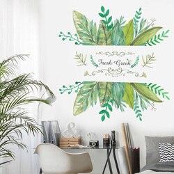 Adesivo de parede de folha verde fresca, fundo de parede para sala de estar, quarto, decoração de casa, papel de parede removível