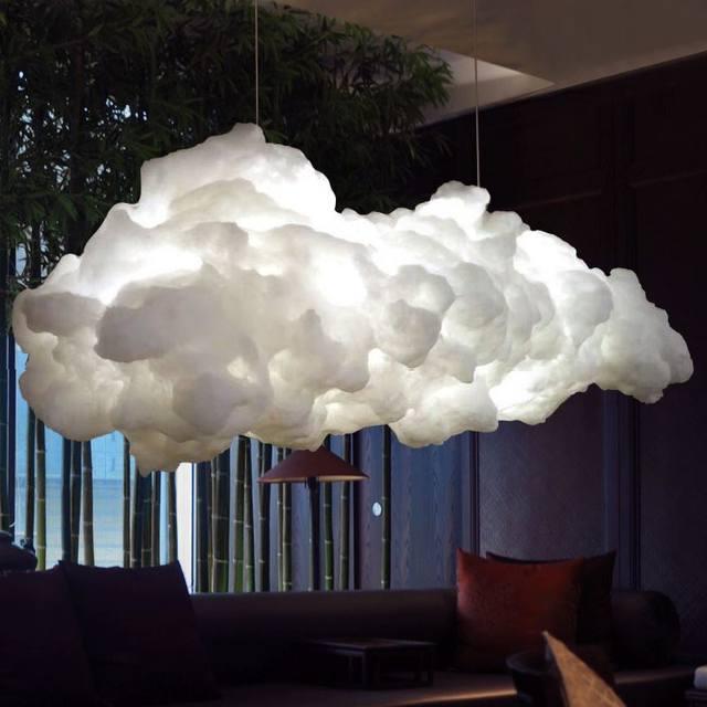 Modern Creative Romantic White Clouds Pendant Lights Led Lightning Effect  Lamp White Soft Floating Cotton Cloud Hanging Light