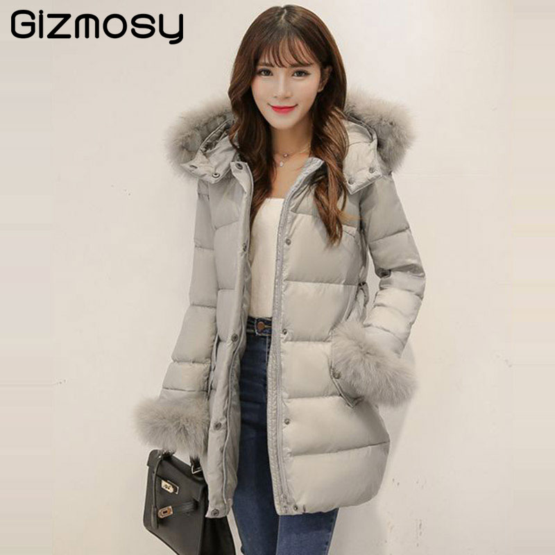 New 1PC Down Jacket Women 100% Real Raccoon Fur White Duck Down Coat Thick Hooded Parkas Womens Winter Jackets Coats SY1720 2017 winter jacket women white duck down coat large real fur collar thick hooded parkas women winter jackets coats sy1706